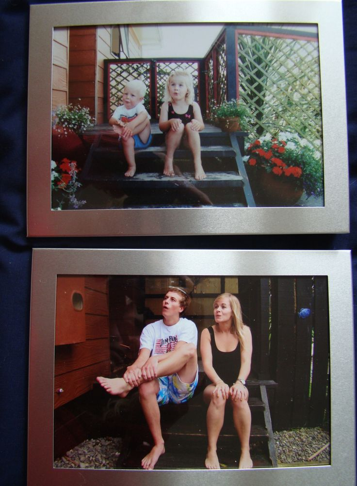 My brother and I recreated photos from our childhood as a Christmas present for our parents a couple of years ago. We did three photos but this is my favourite! We even knocked on the door of our old house to ask if we could take a photo sitting on the front doorstep.