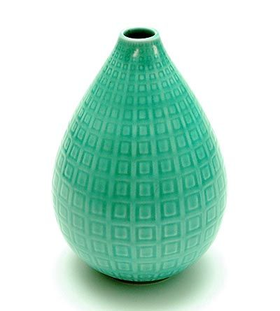 Green glazed earthenware vase Marselis design Nils Thorsson ca.1950 executed by Aluminia / Denmark