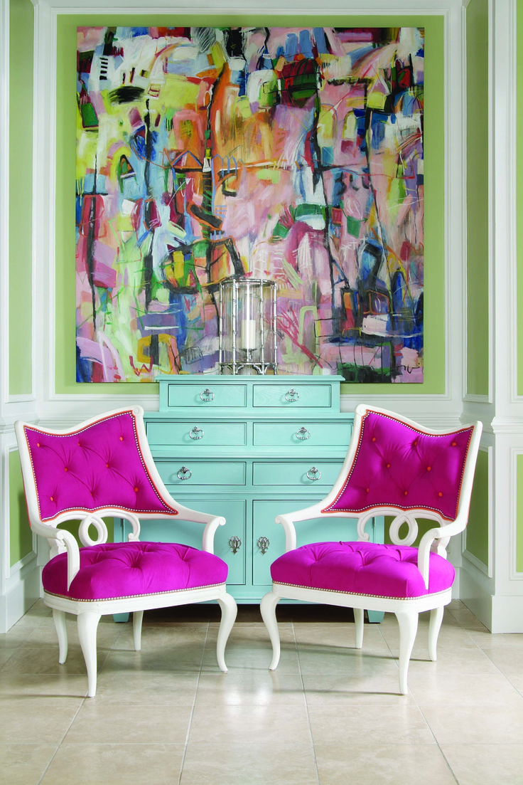bold colors and chairs.: Living Rooms, Home Decor Ideas, Color Combos, Interiors, Bold Color, Pink Chairs, Dressers, Hot Pink, Accent Chairs