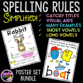 This bundle includes my short vowel and long vowel spelling rules poster sets. As a former special educator, I know how difficult it can be for students to memorize all of the different spelling rules in the English language. That is why I created this product!