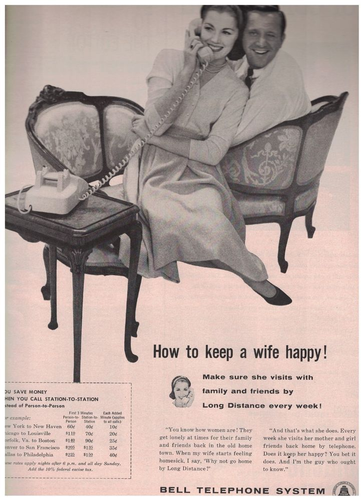 1959 Bell Telephone System Ad How To Keep A Wife Happy  Long Distance Every Week #BellTelephoneSystem