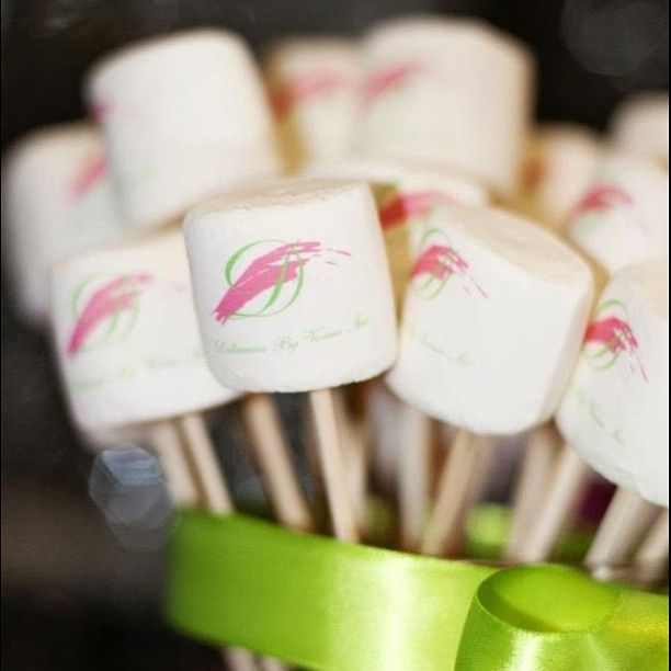 Logo marshmallows for a mini s'mores bar #pink #smores #chocolate #grahamcracker #graduation #party #customcandy #custommarshmallows #fetesetter #etsy #trendsetter #eventstyling #catering #delicasiesbyverna #marshmallow #instayum #inspired #pinkandgreen