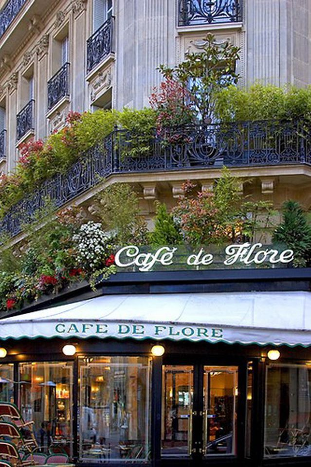 lCafe de Flore, one of the oldest and the most prestigious coffeehouses in Paris, celebrated for its famous clientele.