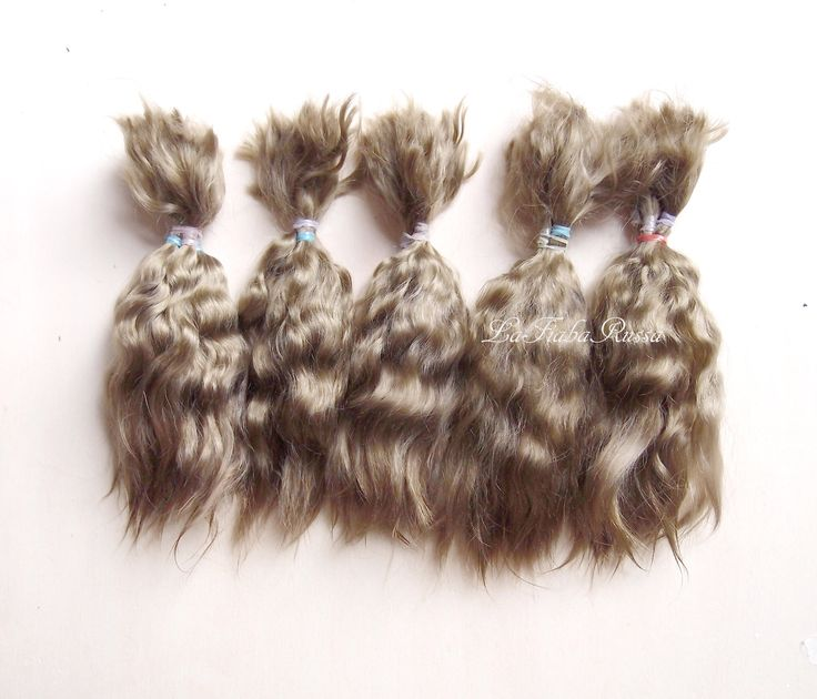 Combed Mohair angora locks blonde golden brown hair extra long 15 cm supplies for doll hair reroot reborn, wig, wefts by LaFiabaRussa