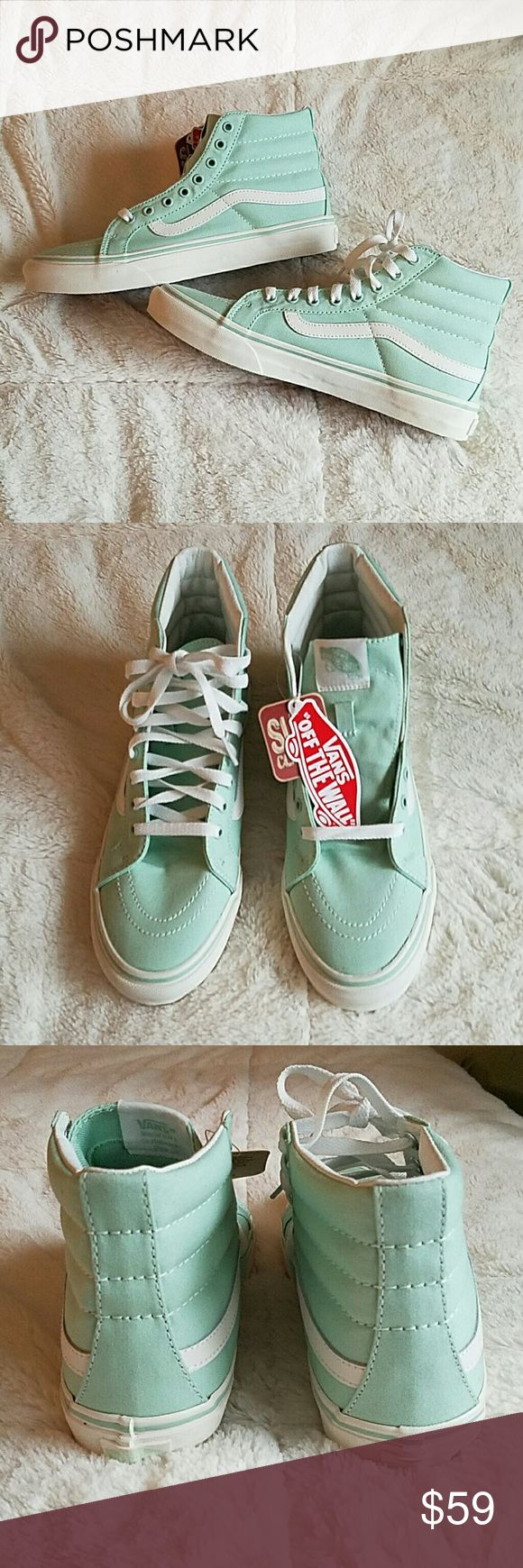 Vans High Sk8 Slim hi top sneakers These sneakers are brand new, never worn! Turns out I wear a size 7, these are 7 and 1/2. Such a cute mint green color with white details. These shoes are so stylish and feminine, they go with everything! You can dress them up or down and be comfortable whatever you're doing. Please ask all questions and review photos carefully as I don't accept returns ? Vans Shoes Sneakers