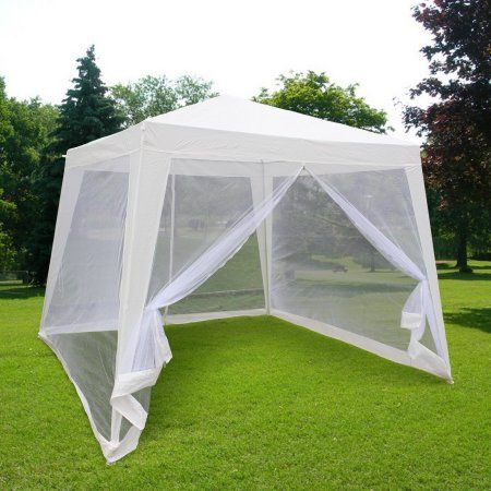 Quictent Outdoor Canopy Gazebo Party Wedding tent Screen House Sun Shade Shelter with Fully Enclosed Mesh Side Wall (10'x10'/7.9'x7.9', White)