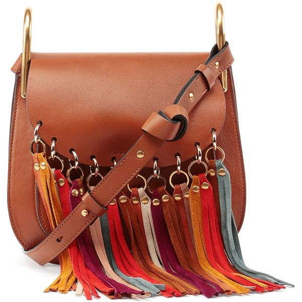 Chloe Hudson Fringe-Trim Leather Shoulder Bag (10.235 RON) ❤ liked on Polyvore featuring bags, handbags, shoulder bags, caramel, brown fringe purse, brown purse, genuine leather handbags, brown leather handbag and suede fringe purse