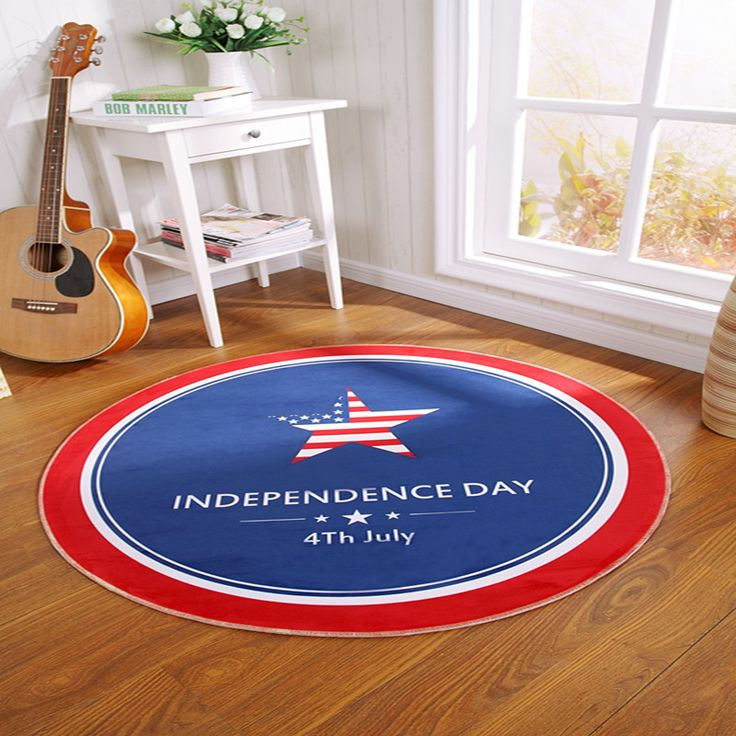 >> Click to Buy << Flag Independence Day Carpet Round Style Decoration Non-slip Bedroom Carpet Living Room Floor Mat Western Style Free Shipping #Affiliate
