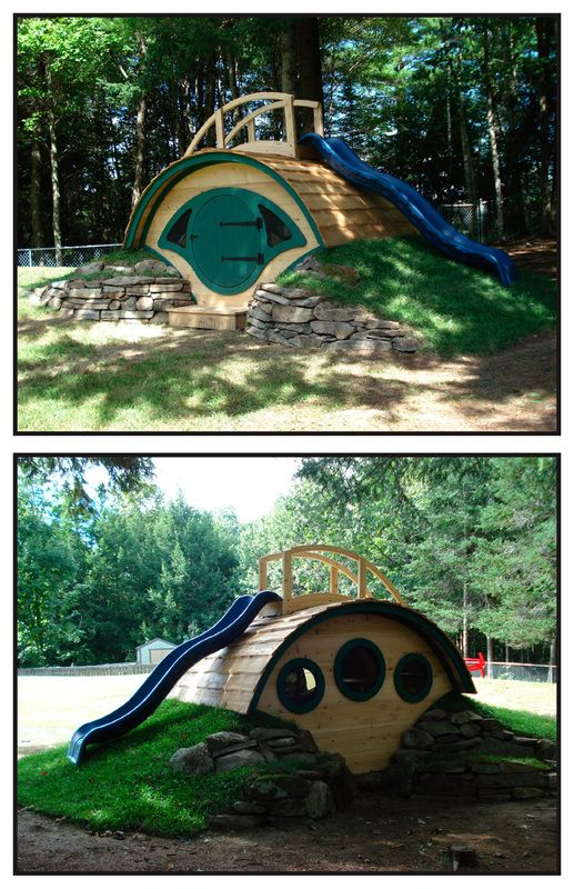 Hobbit Hole Playhouse with a slide on top!