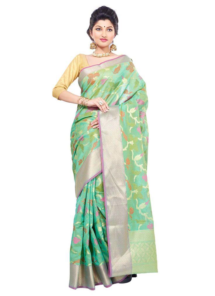 Sea Green Chanderi Jacquard Saree. Probably looks nicer with the matching blouse