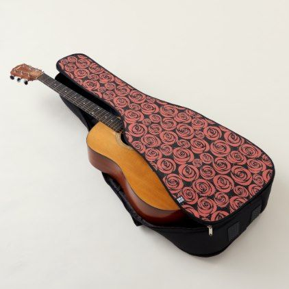 Guitar Case Acoustic or Electric-Coral Roses - rose style gifts diy customize special roses flowers