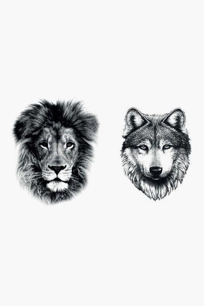 Tatoo - wolf lion tattoo - Black 1