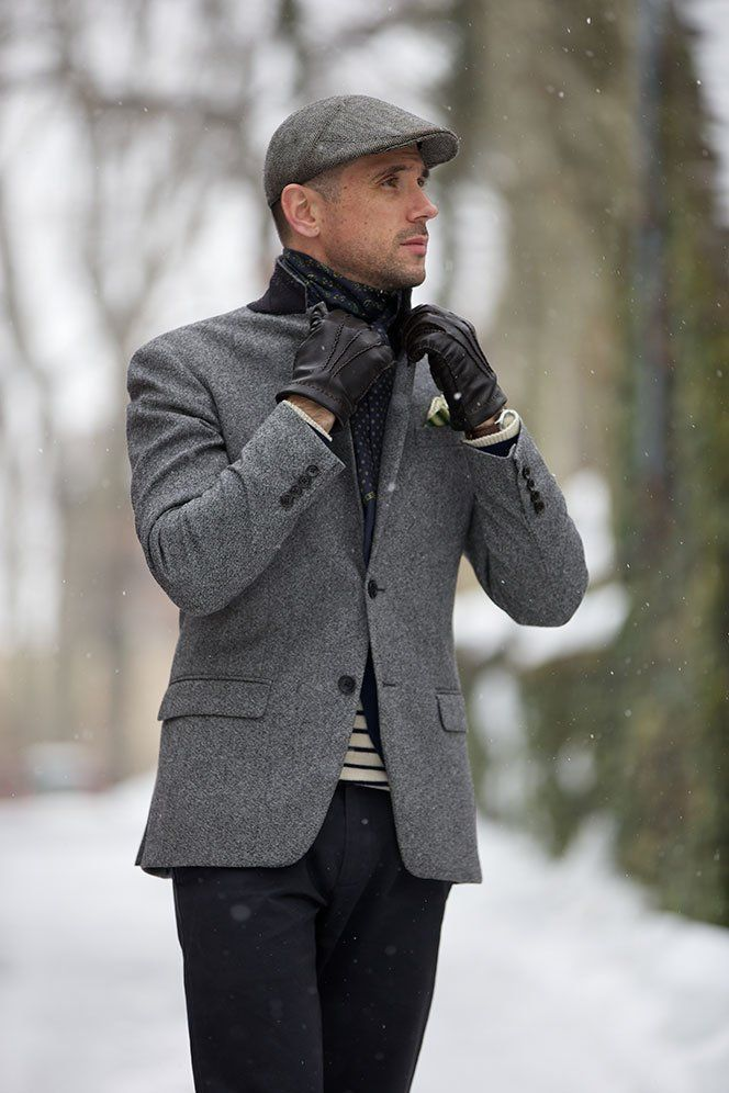 Shop this look for $240:  http://lookastic.com/men/looks/gloves-and-scarf-and-chinos-and-flat-cap-and-blazer-and-crew-neck-sweater/1419  — Black Leather Gloves  — Navy Polka Dot Scarf  — Navy Chinos  — Grey Flat Cap  — Grey Wool Blazer  — White and Navy Horizontal Striped Crew-neck Sweater