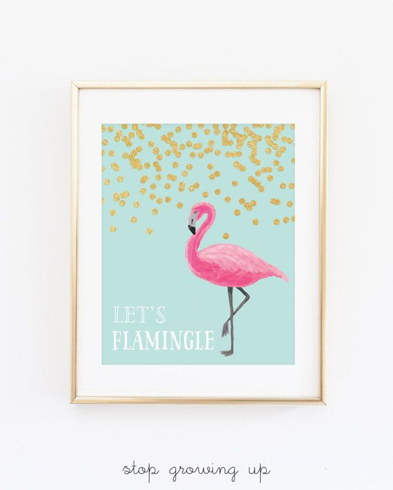 DIGITAL Let's Flamingle Party Printable, Flamingo Birthday Party, Flamingo Playroom Print, Flamingo Children's Decor - ANY SIZE