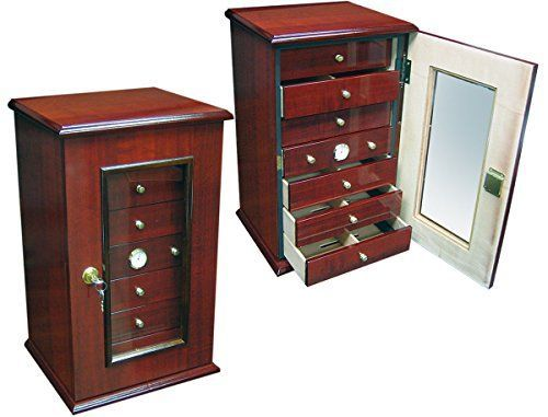 7 Drawer Desk Top Cigar Humidor - Cherry Finish - 210 Cap