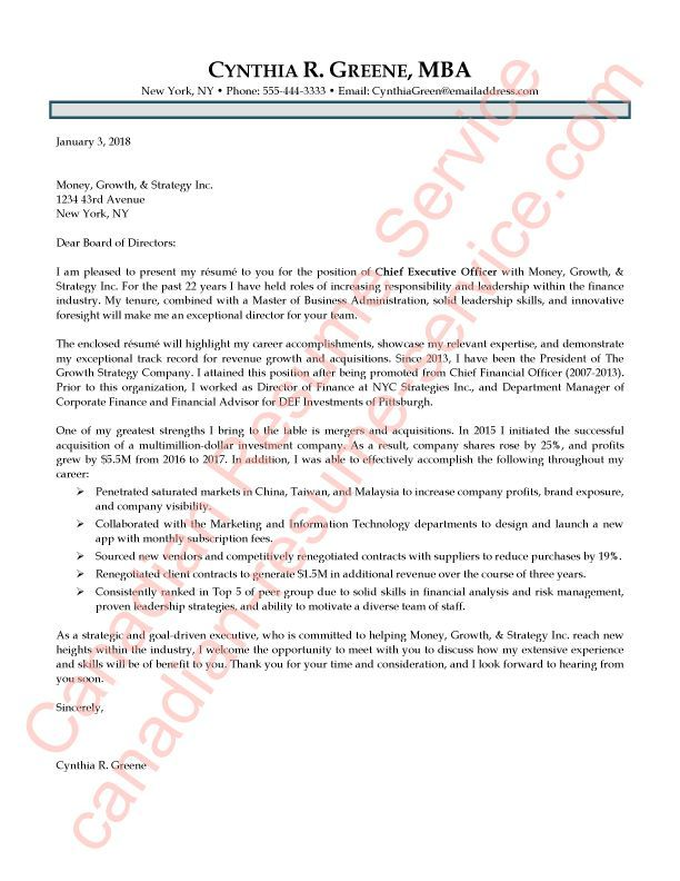 Are you looking for an Executive CEO and President cover letter sample? This example cover letter and executive resume were designed for an experienced C-Level Executive. The job candidate is focused on continuing her leadership within the finance industry, and already has over 20 years of relevant expertise.