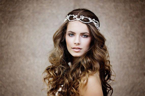 Boho Bridal Headpiece, The Laurelin Couture Halo style #114