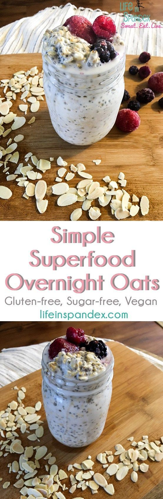 Simple Superfood Overnight Oats - The best post-workout, flat tummy breakfast to beat the summer heat, reduce bloating, and help you lose weight. #healthyeatingtoloseweightbreakfast