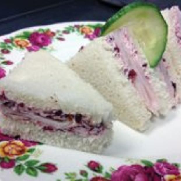Turkey With Cranberry Butter Tea Sandwiches