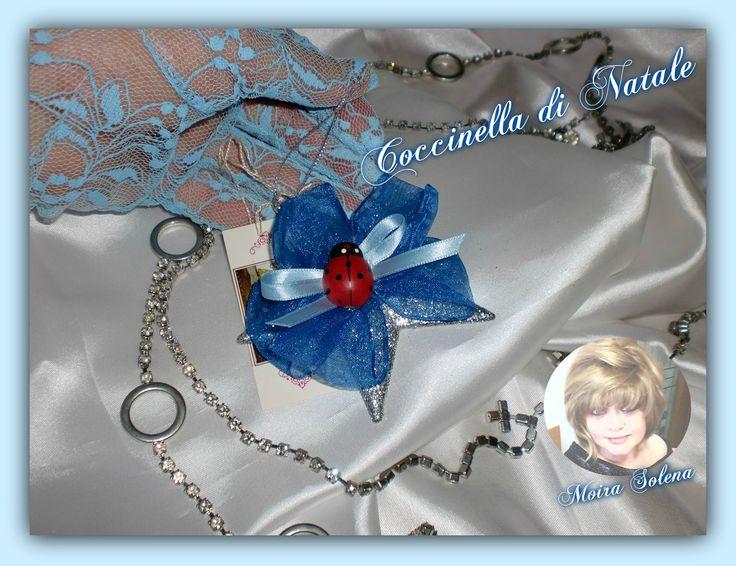 Stellina argentata con fiocco blu e coccinella...per appendere all'albero di Natale!