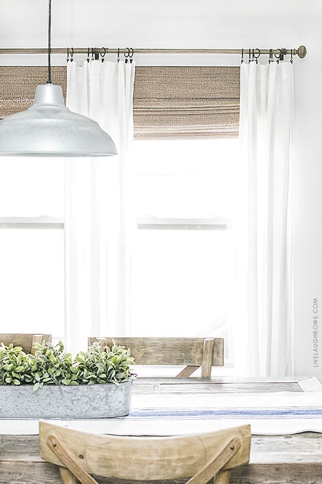 Beautiful Neutral Window Treatments With Farmhouse Flare From Levolor Natural Shades To Linen Curtains The E Is Bright And Inviting