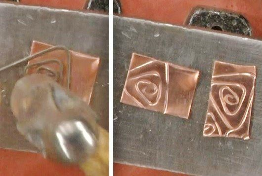steel wire imprinted texture on copper