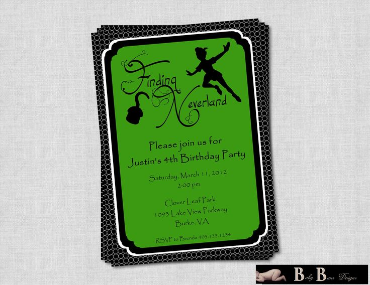 Theme Peter Pan Hook Lost Boys Pixie Dust a collection of – Neverland Party Invitations