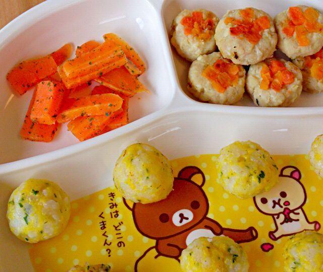 今日はさつまいものつくね♪ - 2件のもぐもぐ - みーちゃんの晩御飯(さつまいものつくね/バター人参/コーンおにぎり) by あんこ