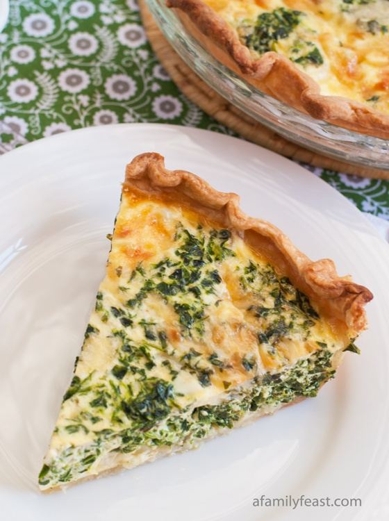 Spinach and Cheddar Quiche. This spinach and cheddar quiche is the perfect blend of eggs, light cream, spinach, sautéed onion and sharp cheddar cheese