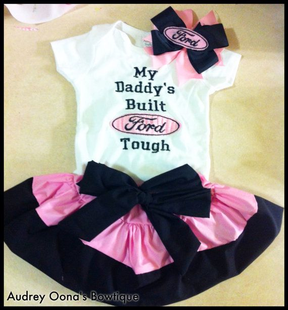My Daddy's built Ford tough embroidered shirt with skirt and bow on Etsy, $30.00