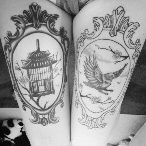Bird cage and bird thigh tattoos, frames / Vogel, Vogelkäfig Tattoo, Oberschenkel, Rahmen