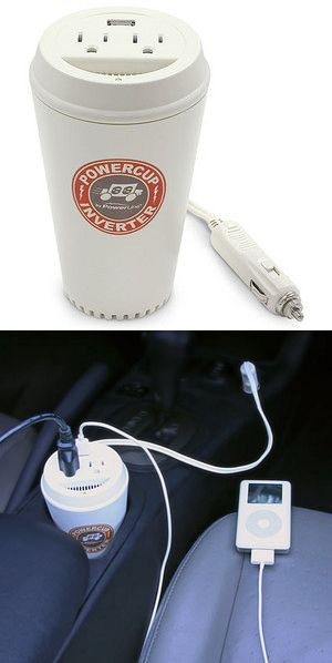 Coffee Cup Power Inverter: A power boost for your electronics $29.99 - www.MyWonderList.com