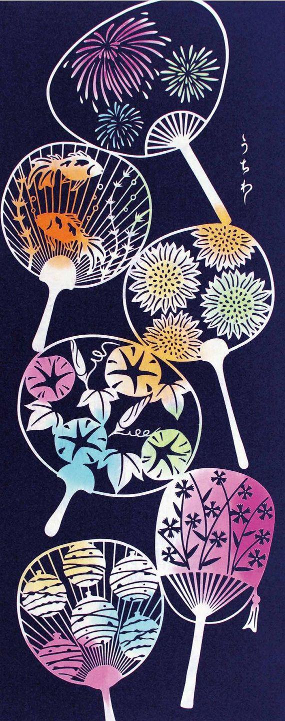 Japanese Tenugui Towel Cotton Fabric, Round Fan Design, Summer Fabric,Hand Dyed Fabric, Modern Art Design, Wall Art, Scarf, Wall Decor, JapanLovelyCrafts