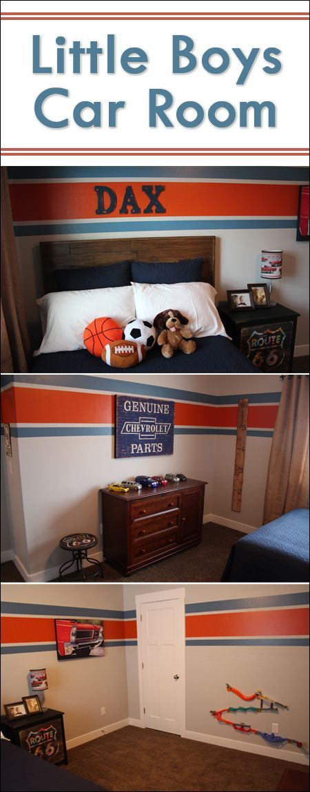Little Boys Car Bedroom with a tutorial on how to paint crisp stripes on the wall!