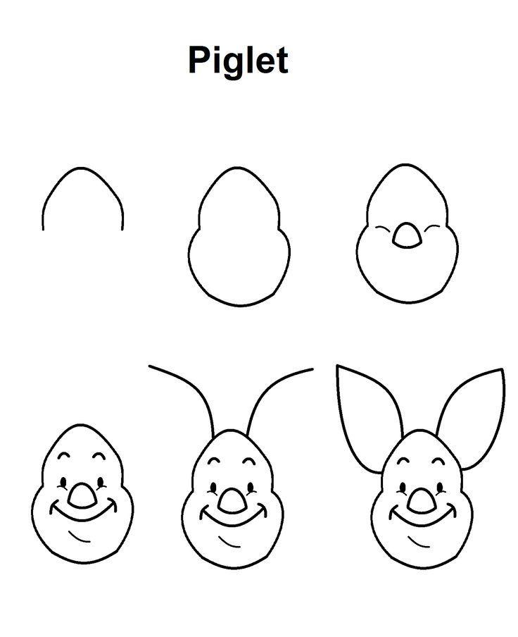 Piglet Step By Step Drawing Tutorial Goruntuler Ile Doodle