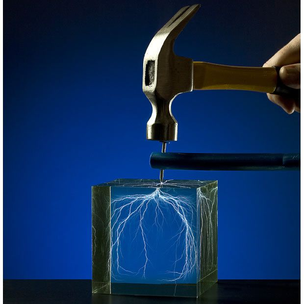 Captured Lightning Lichtenberg Figure sculptures by Bert Hickman