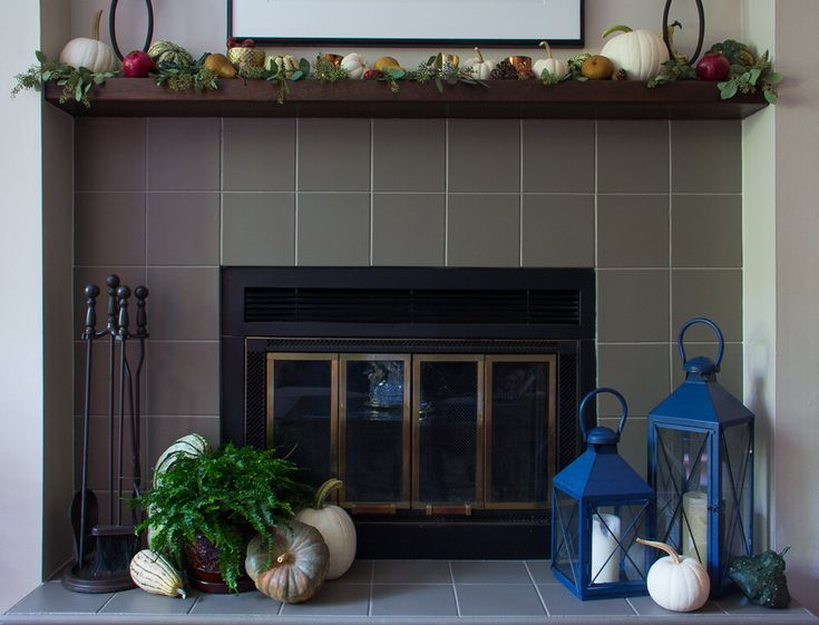 Fireplace makeover how to paint tilesincluding the grout