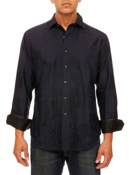 Robert graham big and tall mens clothing riddick extra for Extra long shirts for tall men