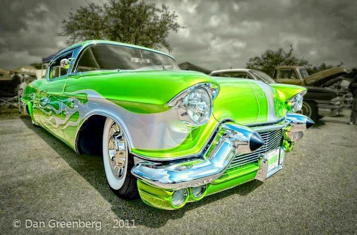 Lime green custom Cadillac