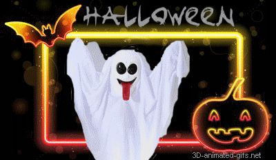 Free Happy Halloween | happy halloween gif banner flash neon ghost animated Funny Halloween ...
