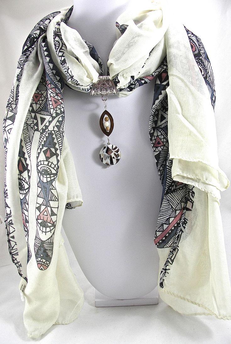 Bijou de foulard sur bélière perles nacre, opale et jaspe (avec foulard)- Réf. 291014-BJ-001 : Echarpe, foulard, cravate par envie-de-bijoux