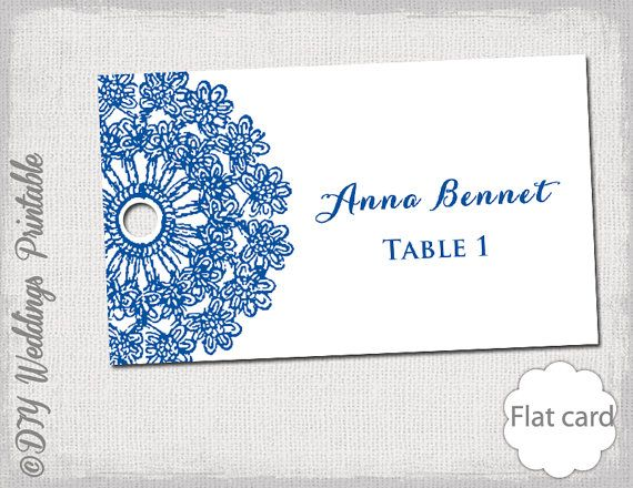 Name card template Lace Doily Horizon blue by diyweddingsprintable