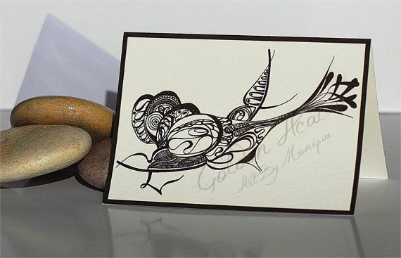 Aquarian Bird Greeting Card: Abstract Pen and Ink drawing of a wren coy fish formation on an A6 card. Tattoo, black & white, intricate on Etsy, $5.00 AUD