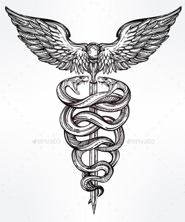 Caduceus Symbol Of God Mercury Illustration.  - Tattoos Vectors