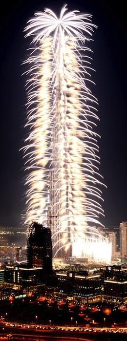 Fireworks from the Burj Khalifa, Dubai, UAE