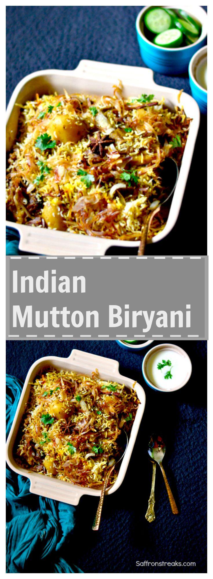 Indian (Lucknowi / Awadhi) Mutton Biryani recipe #Biryani #ricedish Succulent pieces of meat dum cooked in aromatic basmati rice