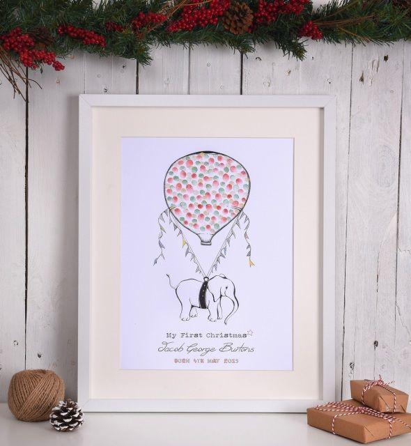 Personalised First Christmas Elephant Fingerprint Print.