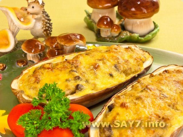 Баклажаны, фаршированные гречкой, грибами и беконом