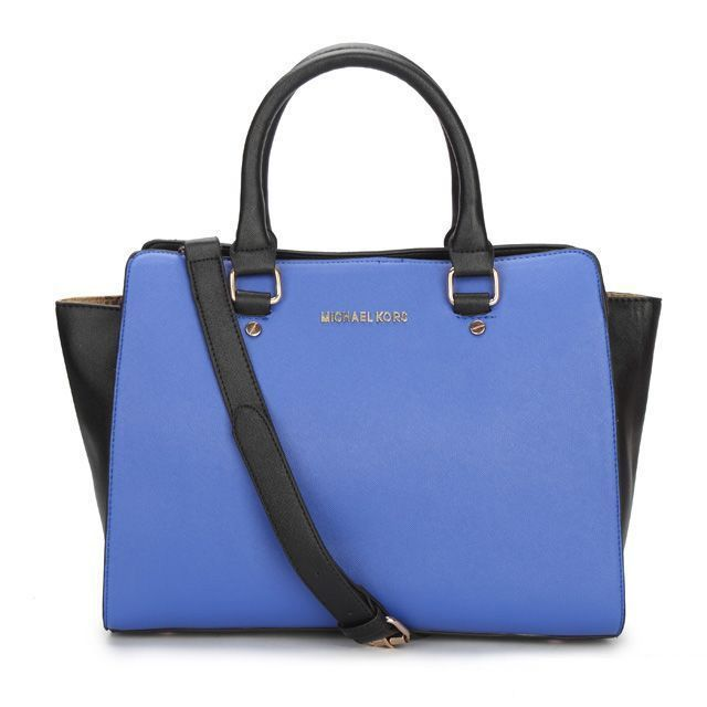 Michael Kors Outlet Selma Top-Zip Large Blue Satchels -Michael Kors factory  outlet online