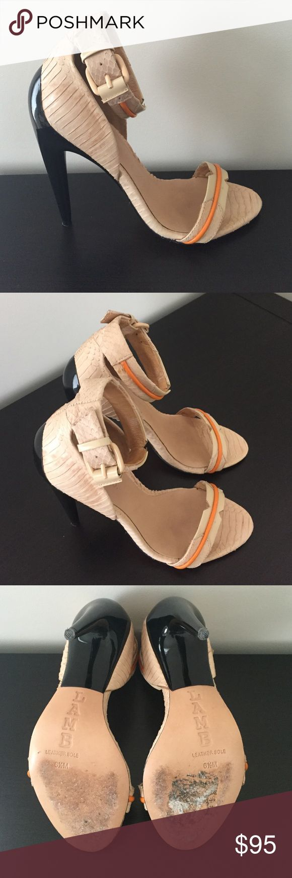 Nude snake skin LAMB shoes Super stylish and perfect for summer! Nude snakeskin leather with an orange detail and black heal shoes. Made by LAMB. Size 6.5. Fit true to size. Worn lightly and in great condition. Lamb Shoes Heels
